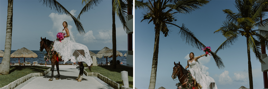 Epic bridal entrance on horse at Now Sapphire Riviera Cancun Wedding in Mexico. Caro Navarro Photography