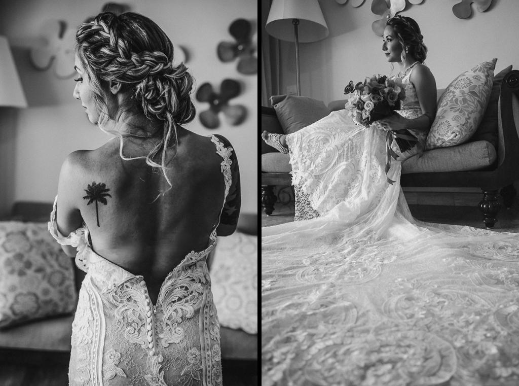 Boho bridal portraits at Now Sapphire Riviera Cancun, Mexico. Caro Navarro Wedding Photography