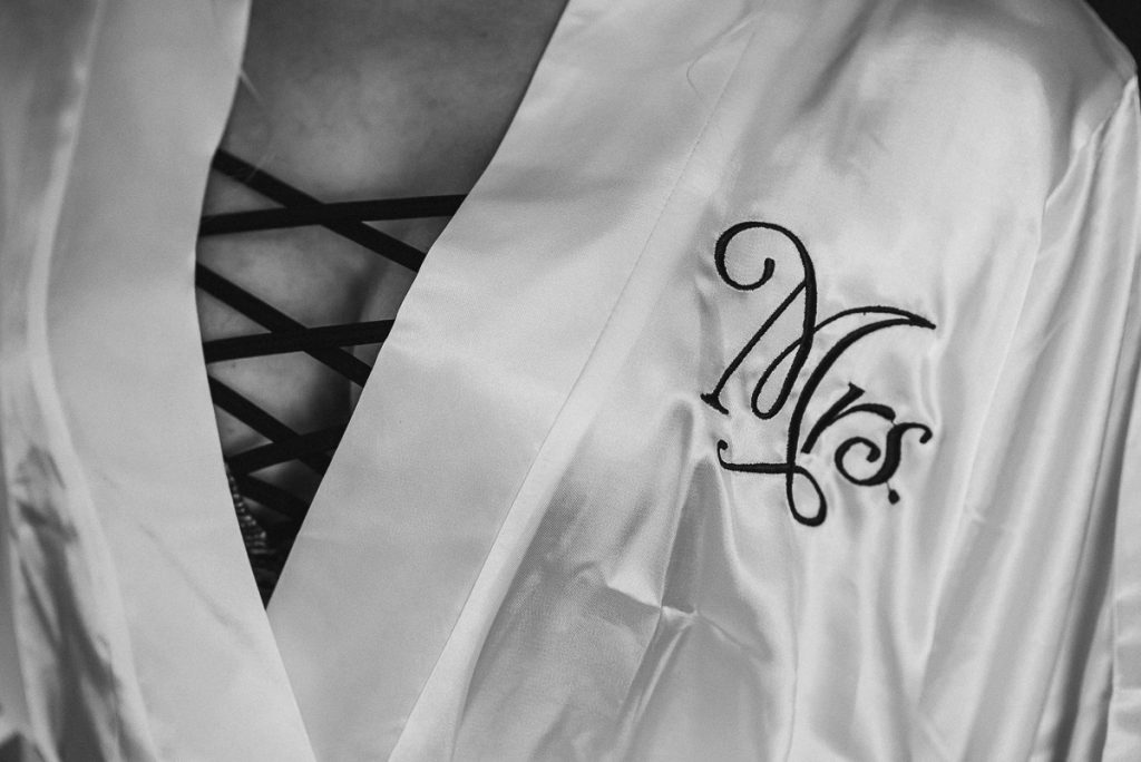 Silk engraved bridal robe at Now Sapphire Riviera Cancun, Mexico. Caro Navarro Wedding Photography