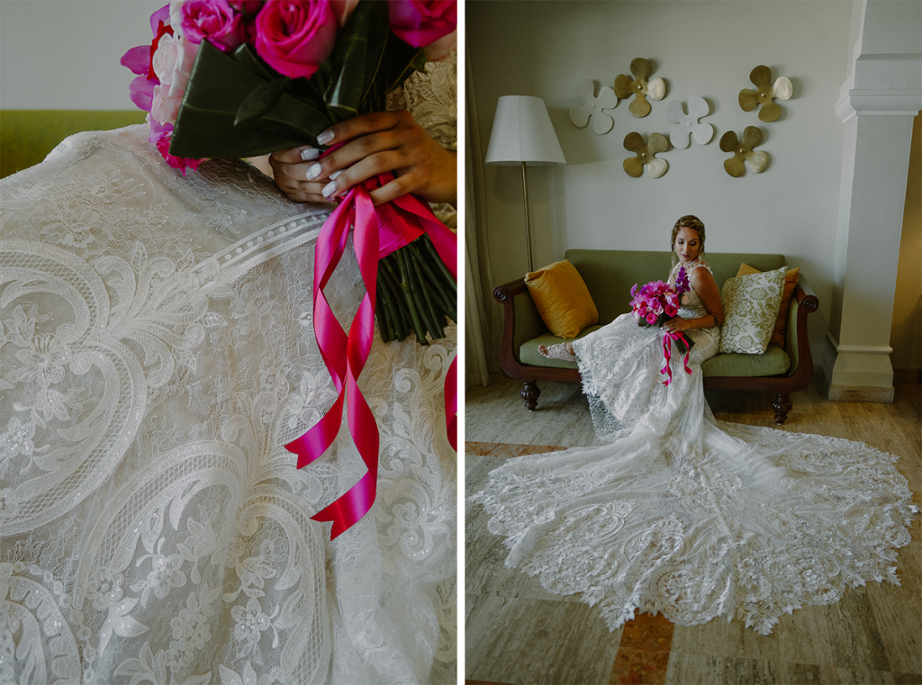 Bridal portraits with hot pink bouquet at Now Sapphire Riviera Cancun, Mexico. Caro Navarro Photography