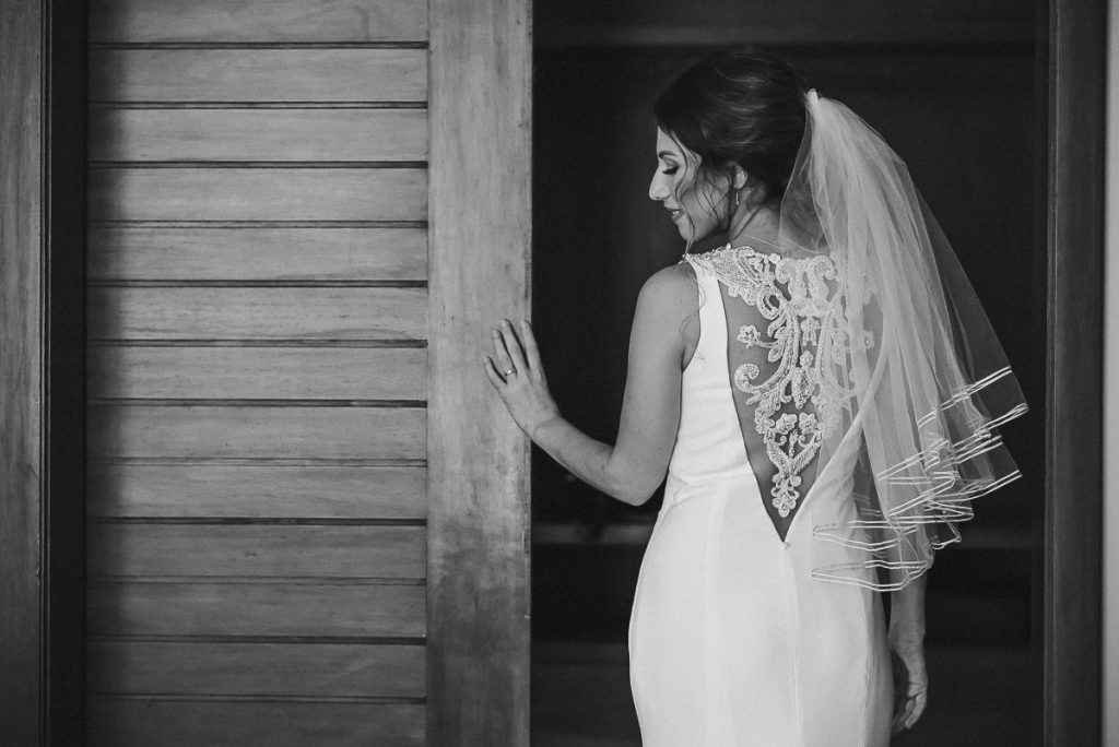 Black and white bridal portrait at Heritage Fairmont Mayakoba in Mexico by Caro Navarro Photography
