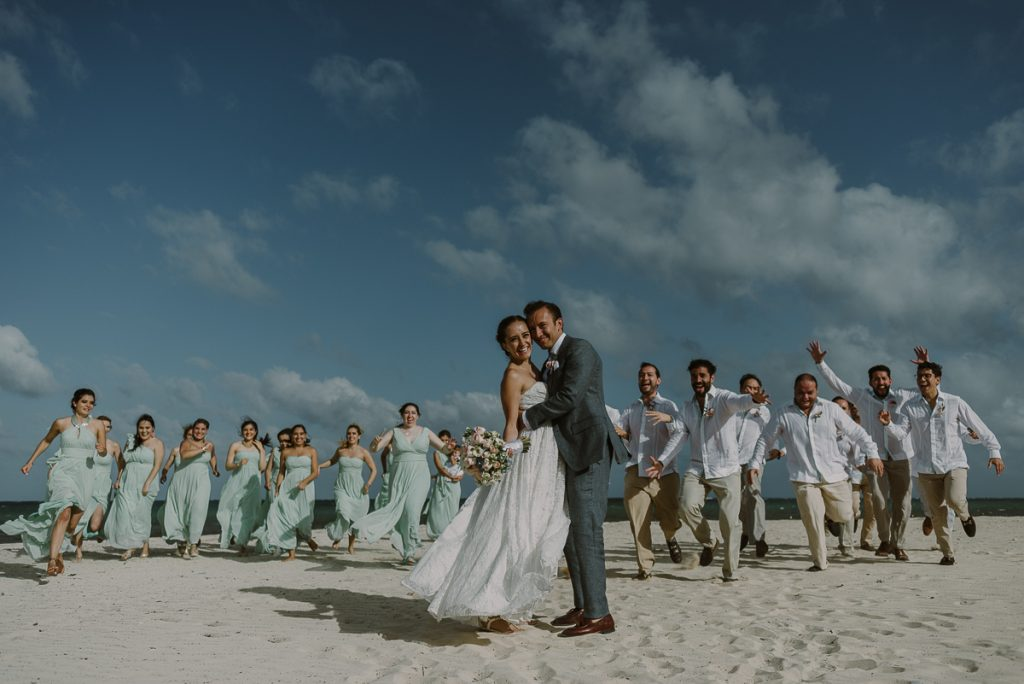 Bridal party beach portraits at Jardin del Mar Destination Wedding in Mexico by Caro Navarro Photography