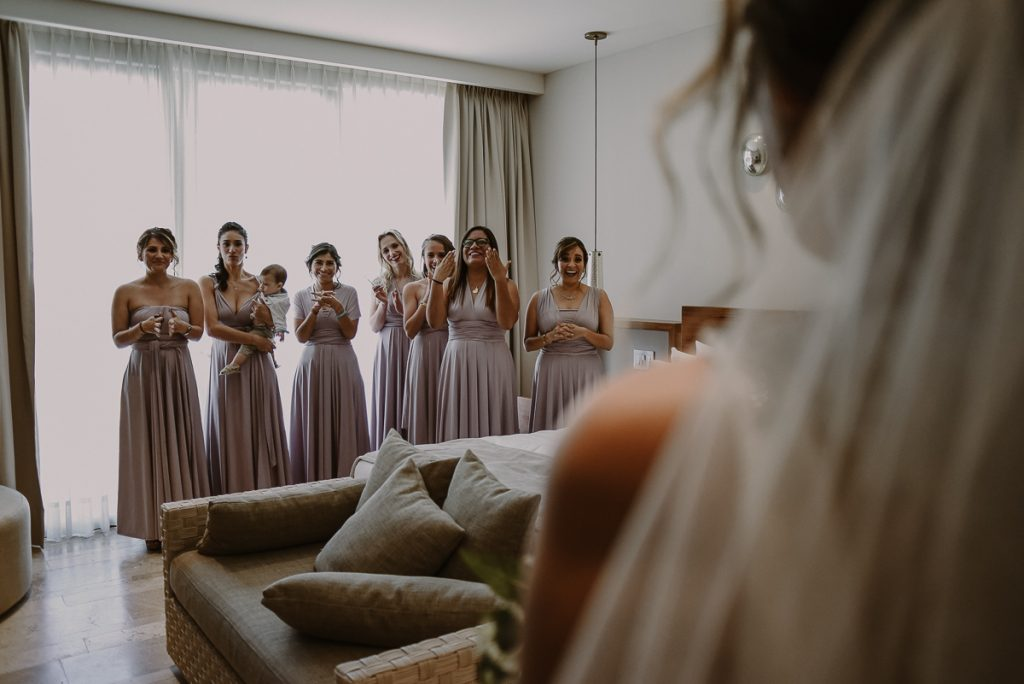 Bridesmaids reaction at Heritage Fairmont Mayakoba Wedding. Caro Navarro Photography