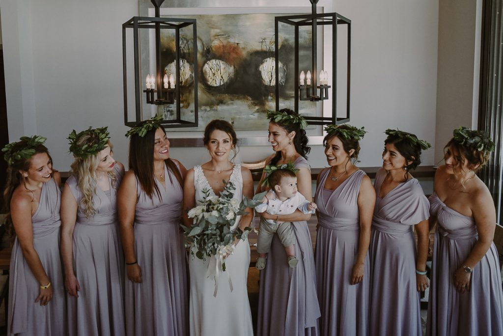 Boho bridal party portraits at Heritage Fairmont Mayakoba, Mexico by Caro Navarro Photography