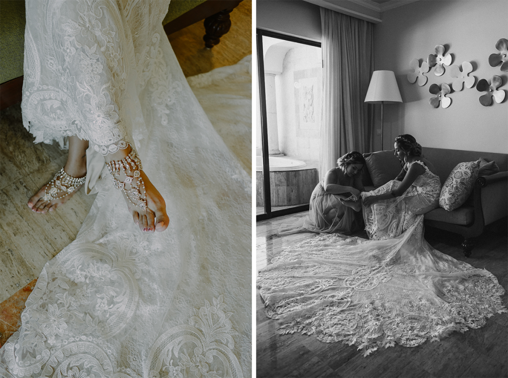 Barefoot bridal jewelry at Now Sapphire Riviera Cancun Wedding in Mexico. Caro Navarro Photography