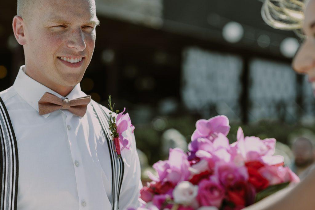 Destination groom at Now Sapphire Riviera Cancun beach wedding. Caro Navarro Photography