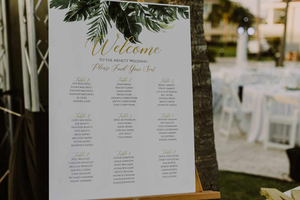 Tropical wedding seating chart at Moon Palace Nizuc Cancun, Mexico. Caro Navarro Photography