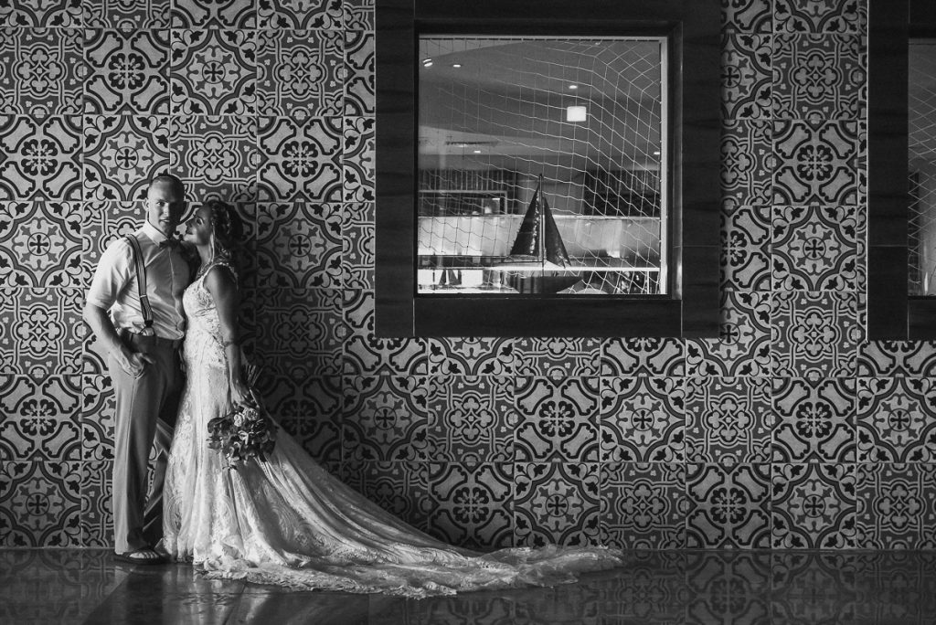 Black and white bride and groom portraits at Now Sapphire Riviera Cancun, Mexico. Caro Navarro Photography
