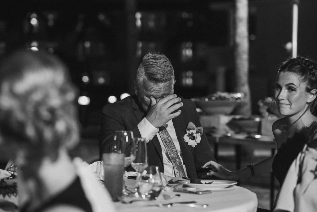 Emotional father of the bride. Caro Navarro Cancun Wedding Photography