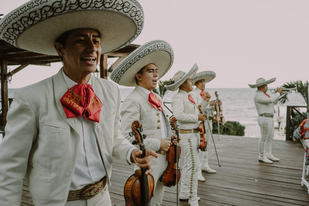 Live mariachi at Now Sapphire Riviera Cancun Tequila Terrace. Caro Navarro Wedding Photography