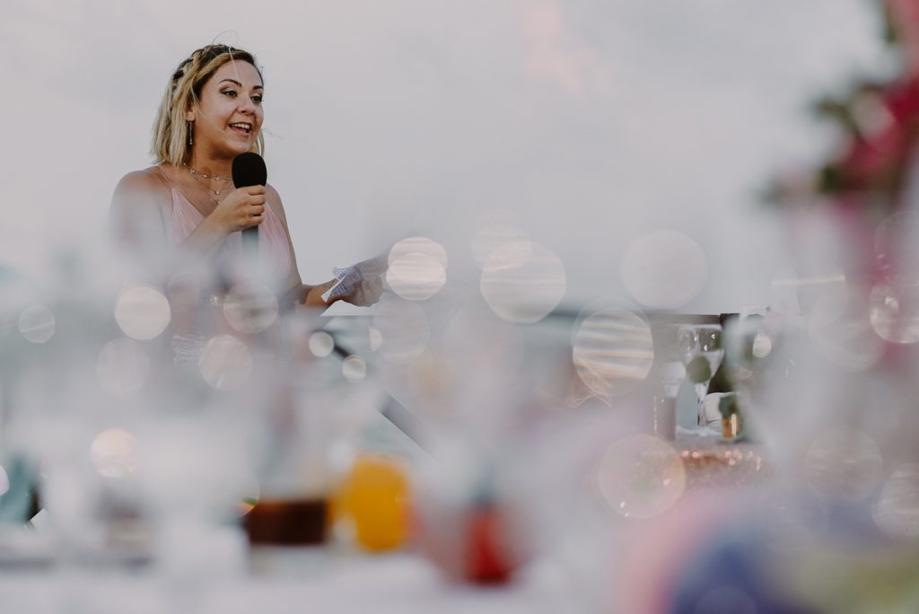 Wedding speeches at Now Sapphire Riviera Cancun, Mexico. Caro Navarro Photography
