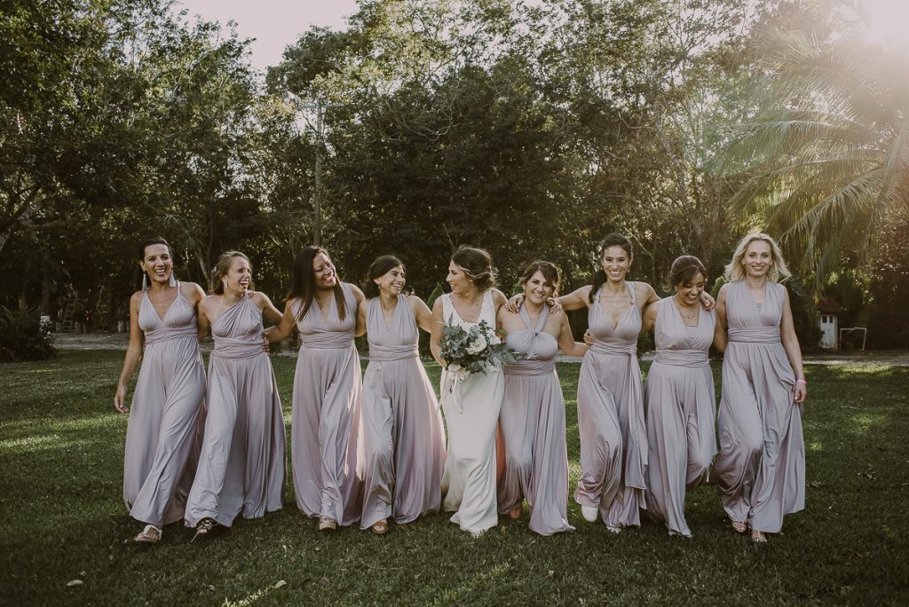 Boho bridal party portraits by Caro Navarro Riviera Maya Wedding Photography