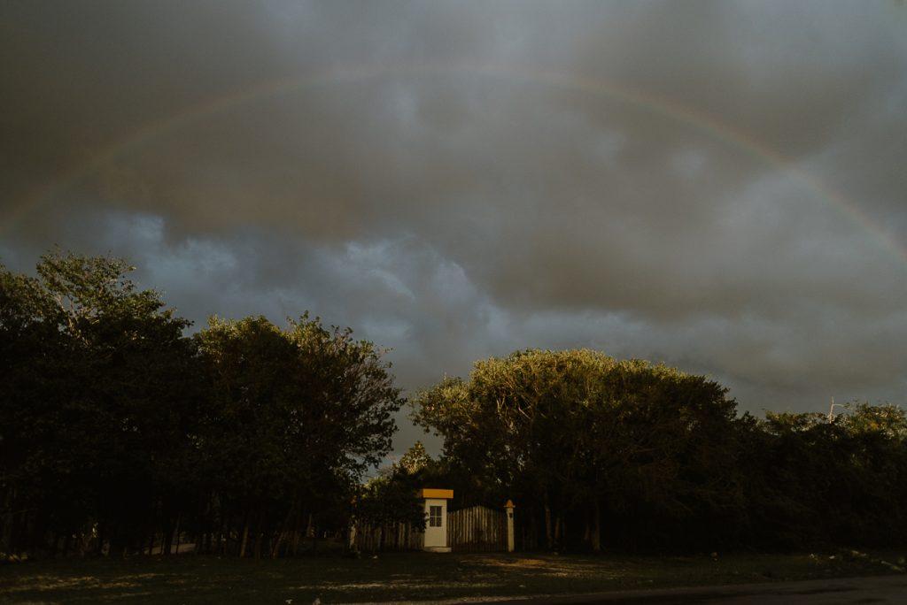 Rainbow over Playa del Carmen Private Wedding venue. Caro Navarro Photography