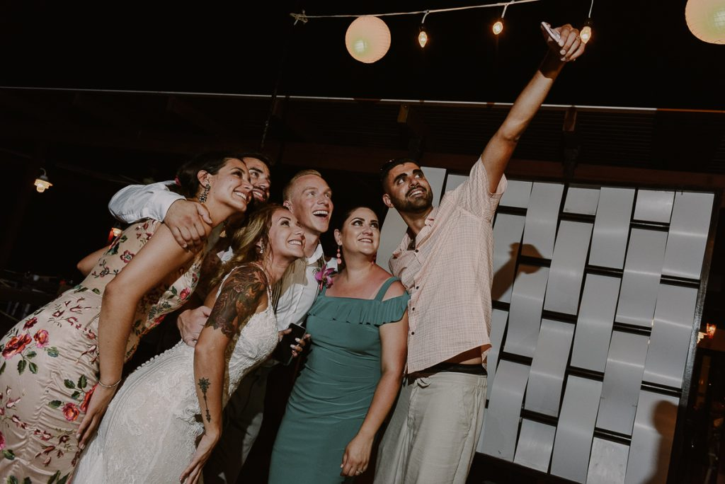Now Sapphire Riviera Cancun Wedding Reception selfie in Mexico by Caro Navarro Photography