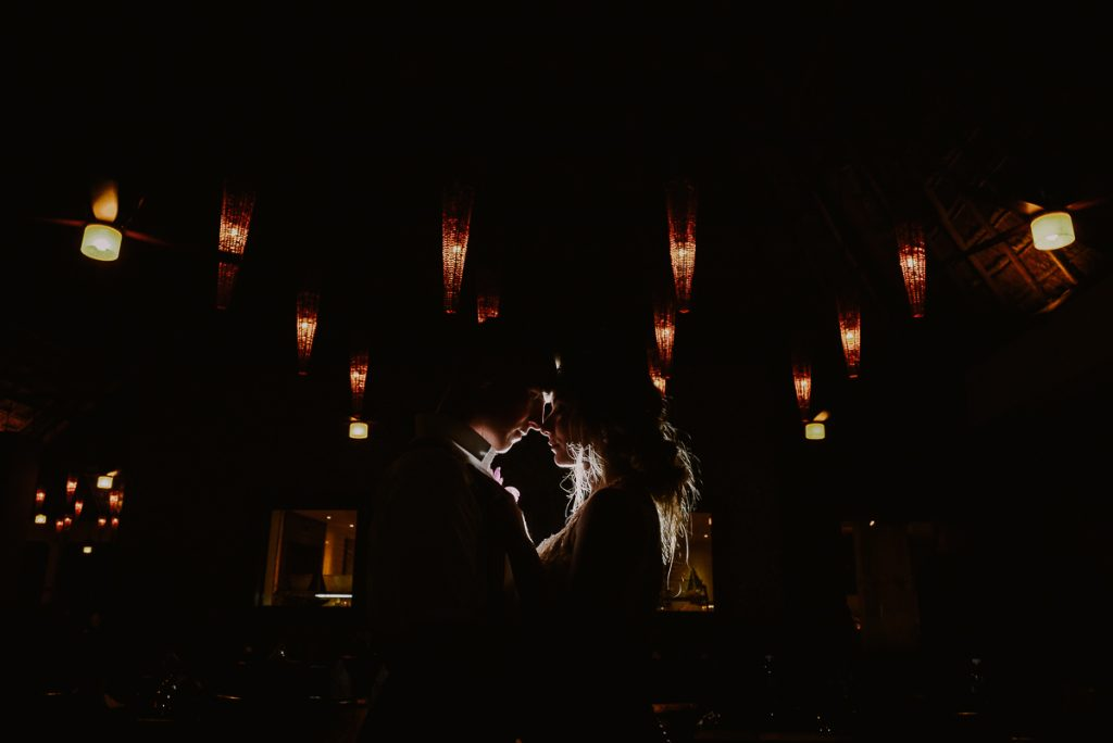 Bride and groom night portraits at Now Sapphire, Mexico. Caro Navarro Wedding Photography