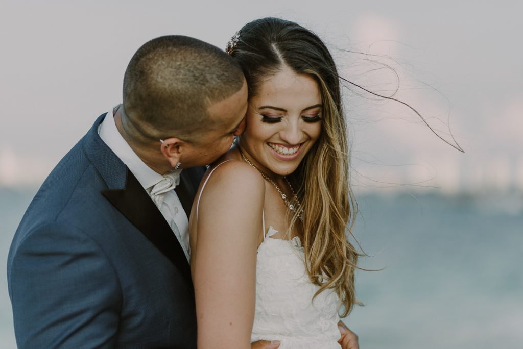 Bride and groom closeup portraits. Riu Caribe Cancun wedding by Caro Navarro Photography