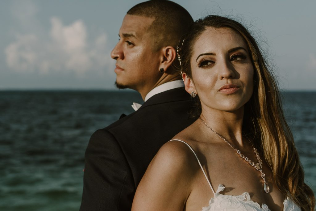 Bride and groom portraits. Riu Caribe Cancun wedding by Caro Navarro Photography