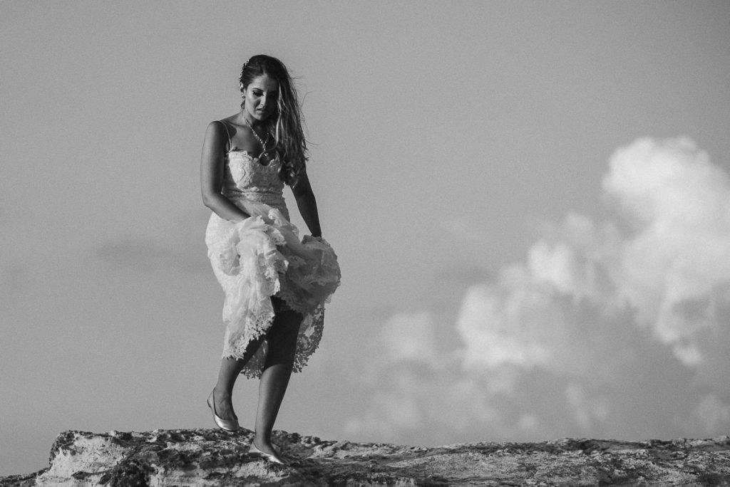 Black and white beach bride portraits. Riu Caribe wedding by Caro Navarro Photography
