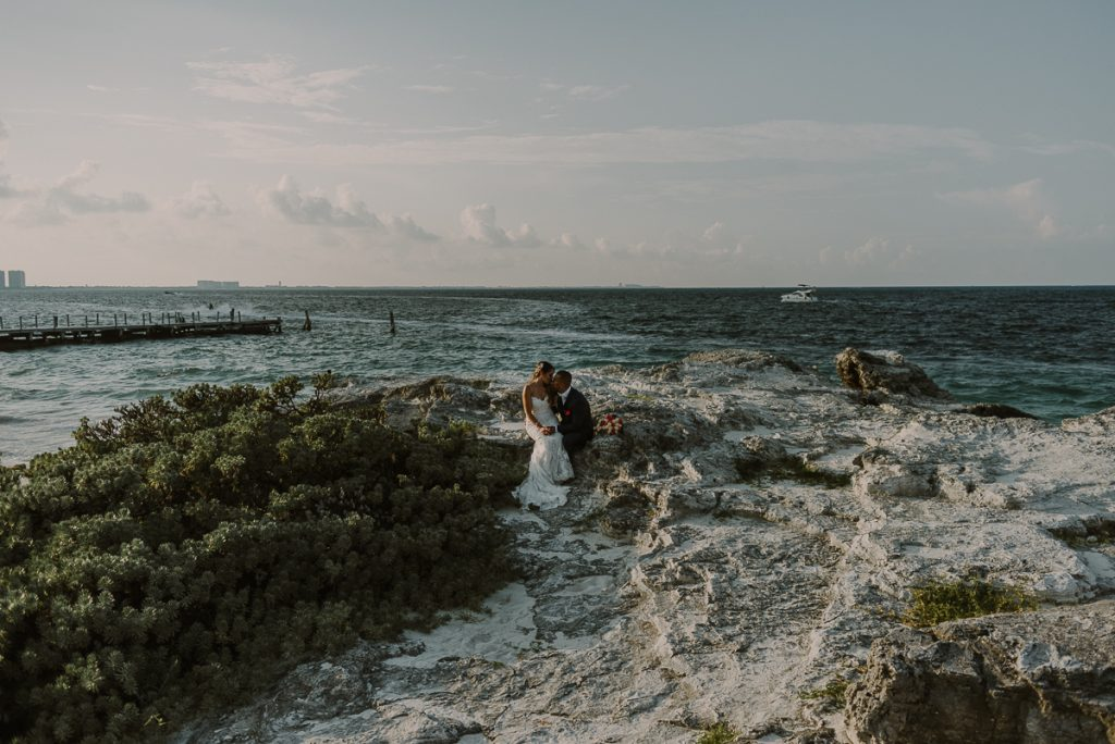 Bride and groom portraits. Riu Caribe Cancun destination wedding by Caro Navarro Photography