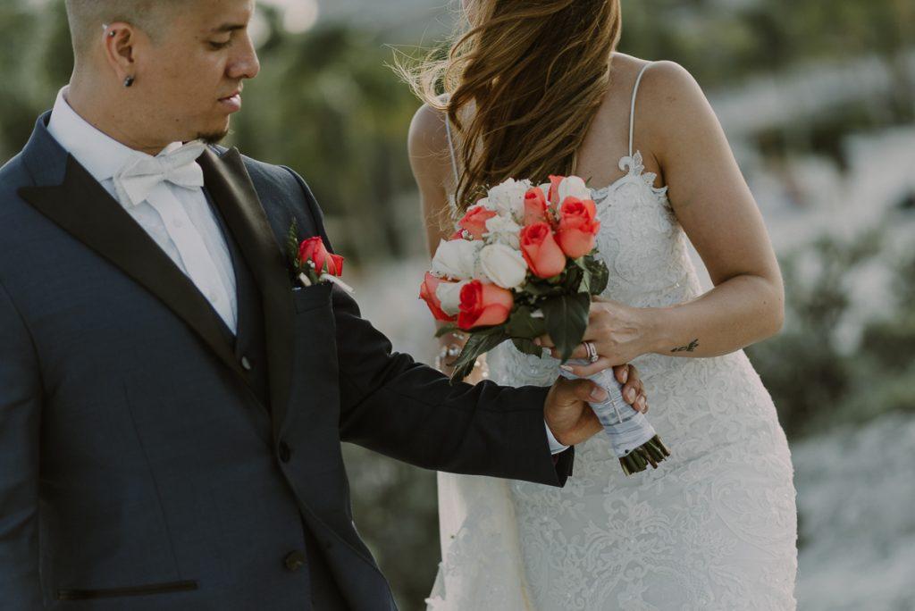 Bride and groom portraits. Riu Caribe Cancun destination wedding by Caro Navarro Photography