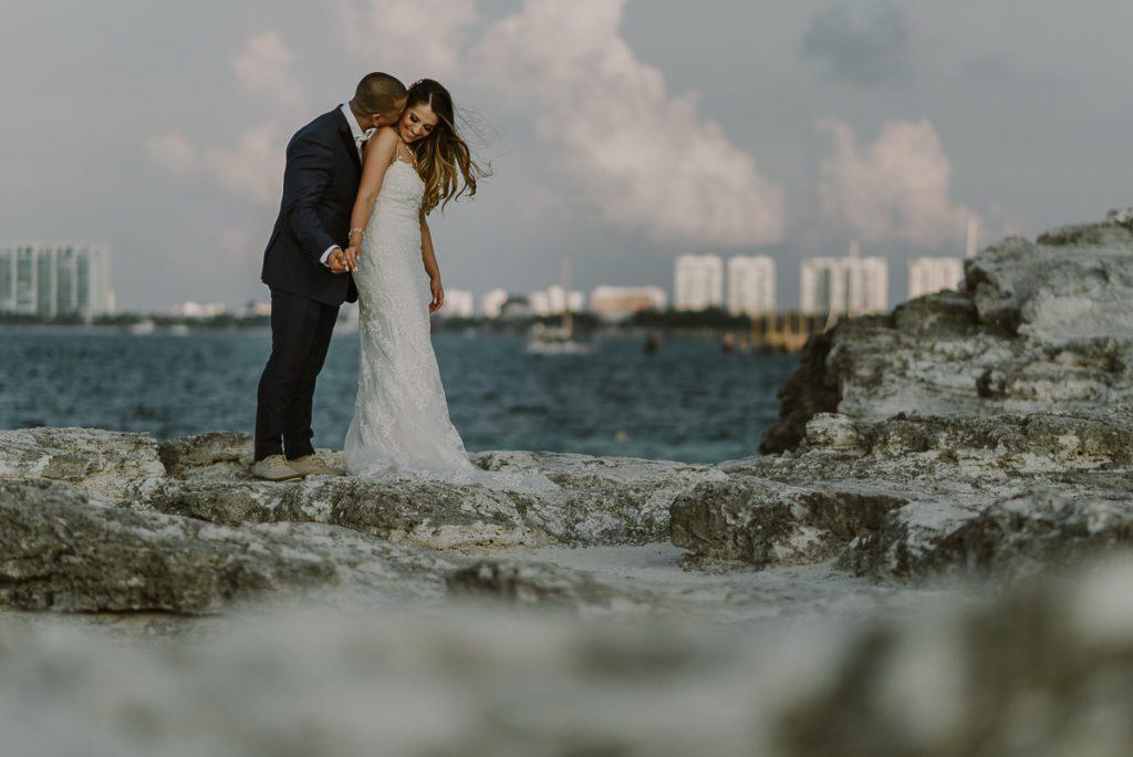 Bride and groom beach portraits. Riu Caribe destination wedding by Caro Navarro Photography