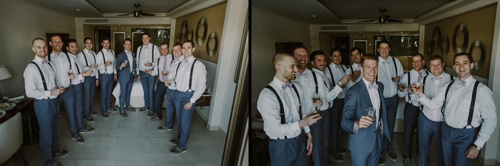 Groomsmen portraits at Royalton Riviera Cancun Wedding. Caro Navarro Photography