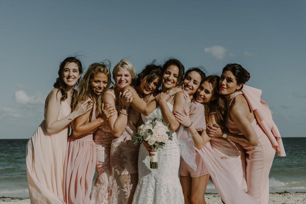 Bridal party beach portraits at Royalton Riviera Cancun Wedding. Caro Navarro Photography