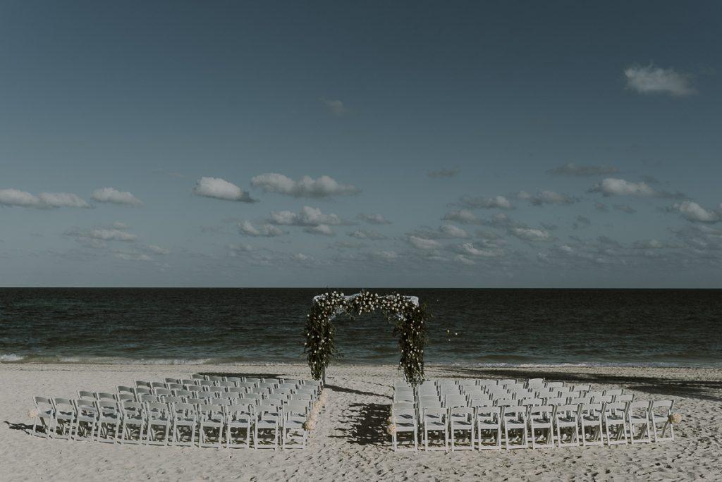 Romantic beach wedding decor at Royalton Riviera Cancun, Mexico. Caro Navarro Photography