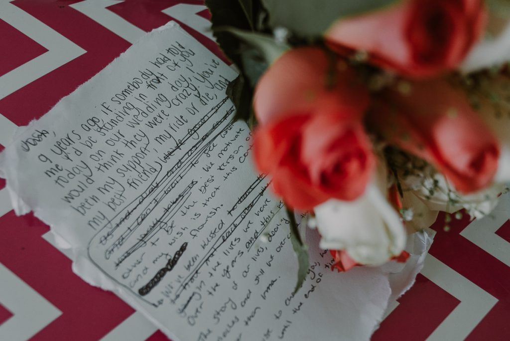 Handwritten wedding vows by Caro Navarro Photography at Riu Caribe Hotel Cancun