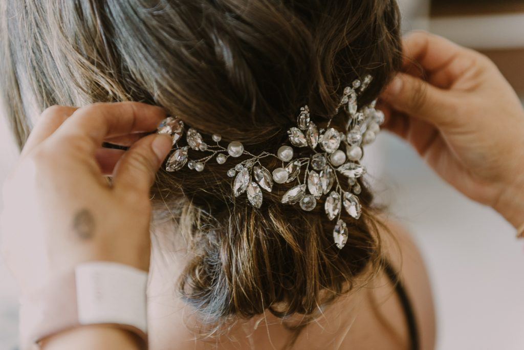 Elegant bridal headpiece at Royalton Riviera Cancun, Mexico. Caro Navarro Wedding Photography
