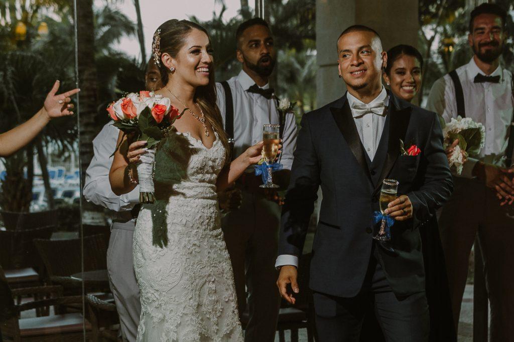 Riu Caribe Cancun wedding reception entrance by Caro Navarro Photography
