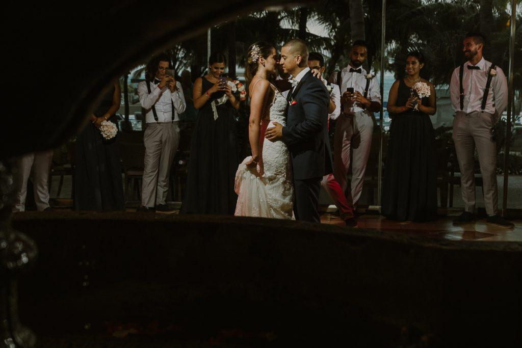 Bride and groom first dance Riu Caribe Cancun wedding reception by Caro Navarro Photography