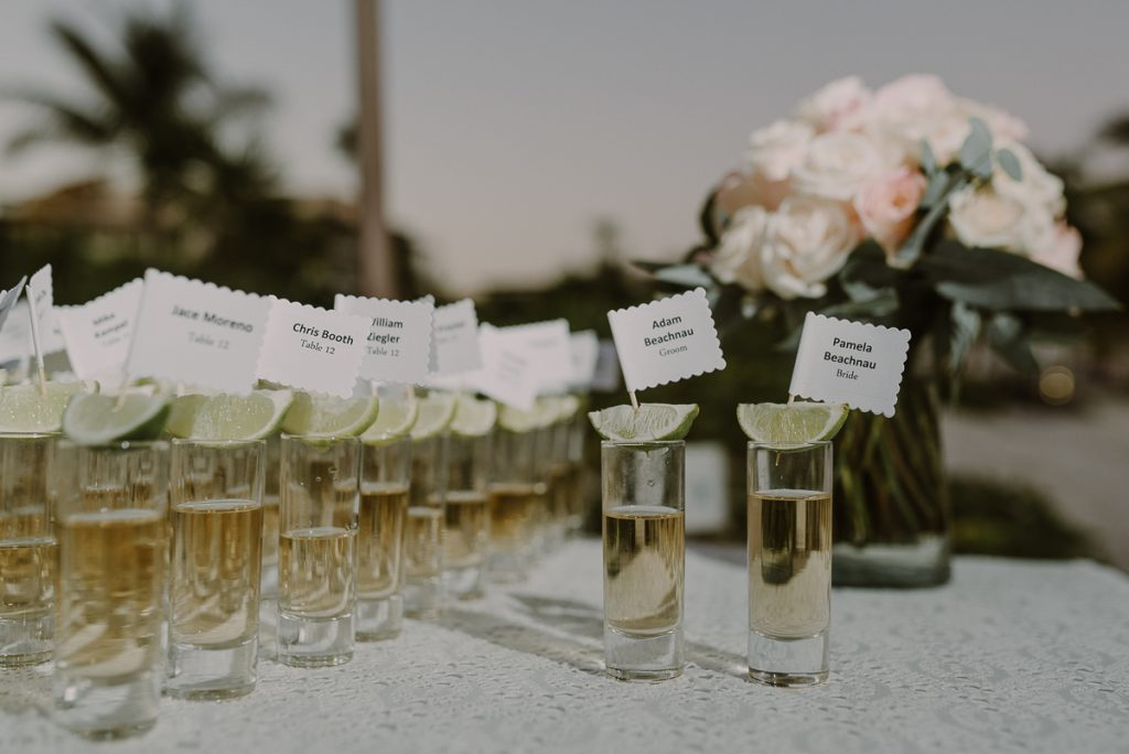 Tequila shots seating cards. Royalton Riviera Cancun Wedding by Caro Navarro Photography
