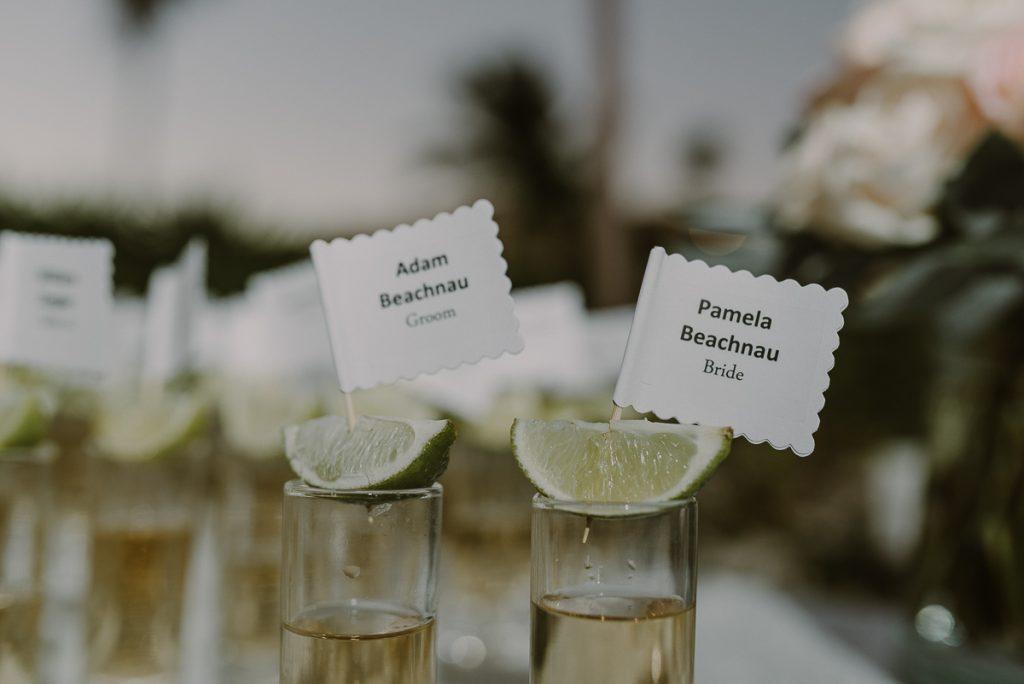 Tequila shots seating cards at Royalton Riviera Cancun wedding. Caro Navarro Photography