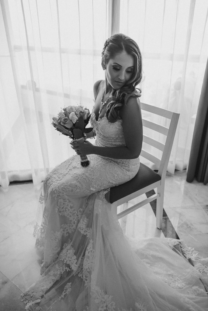 Black and white bridal portraits at Riu Caribe Cancun Wedding by Caro Navarro Photography