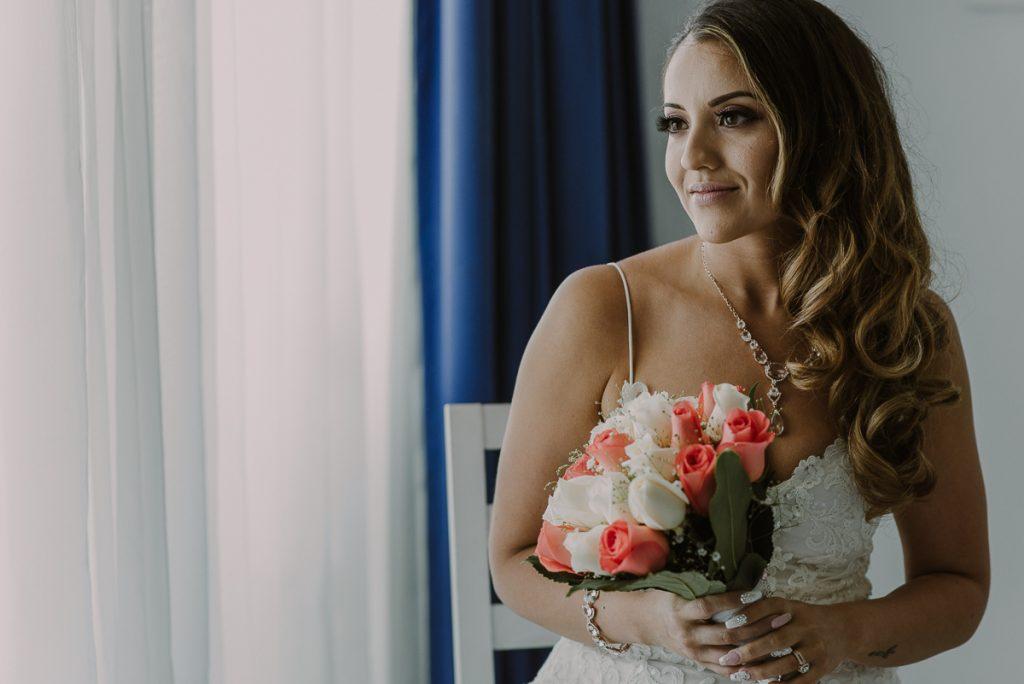 Bridal portrait in natural light at Riu Caribe Cancun Wedding by Caro Navarro Photography