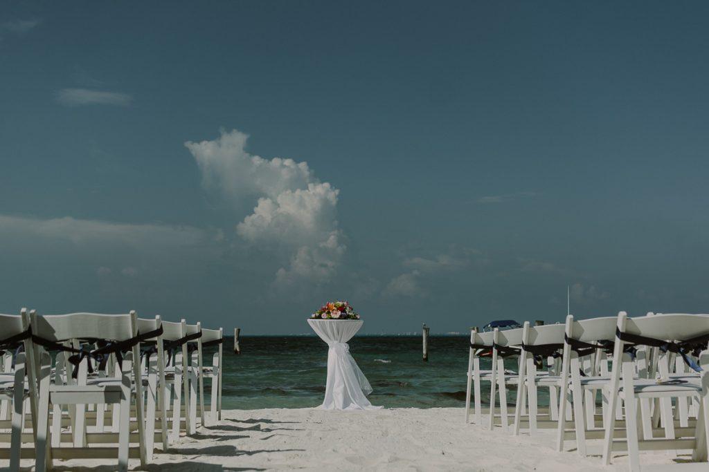 Riu Caribe Cancun beach wedding setup in Mexico. Caro Navarro Photography