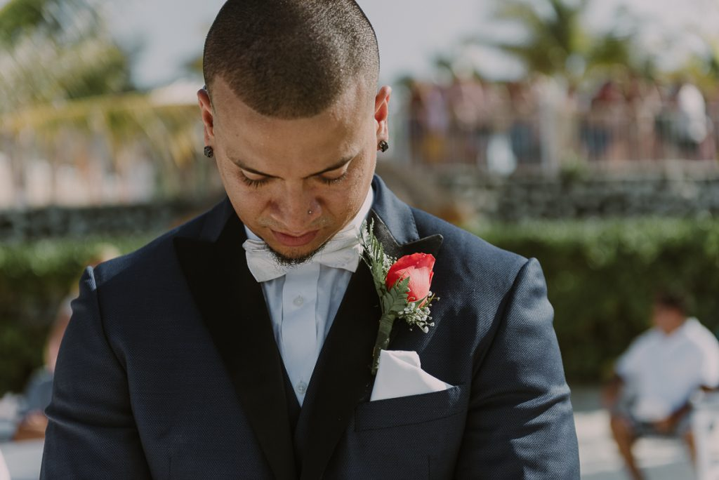 Excited groom waiting for this bride. Riu Caribe Cancun Wedding by Caro Navarro Photography