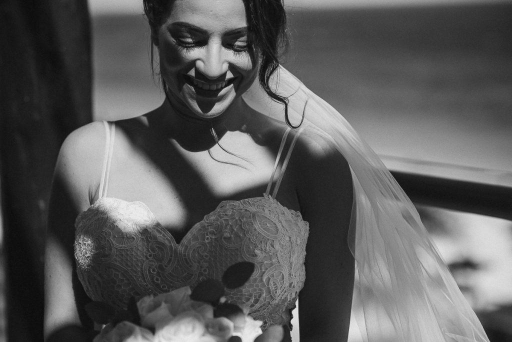 Black and white bridal portrait at Royalton Riviera Cancun. Caro Navarro Wedding Photography