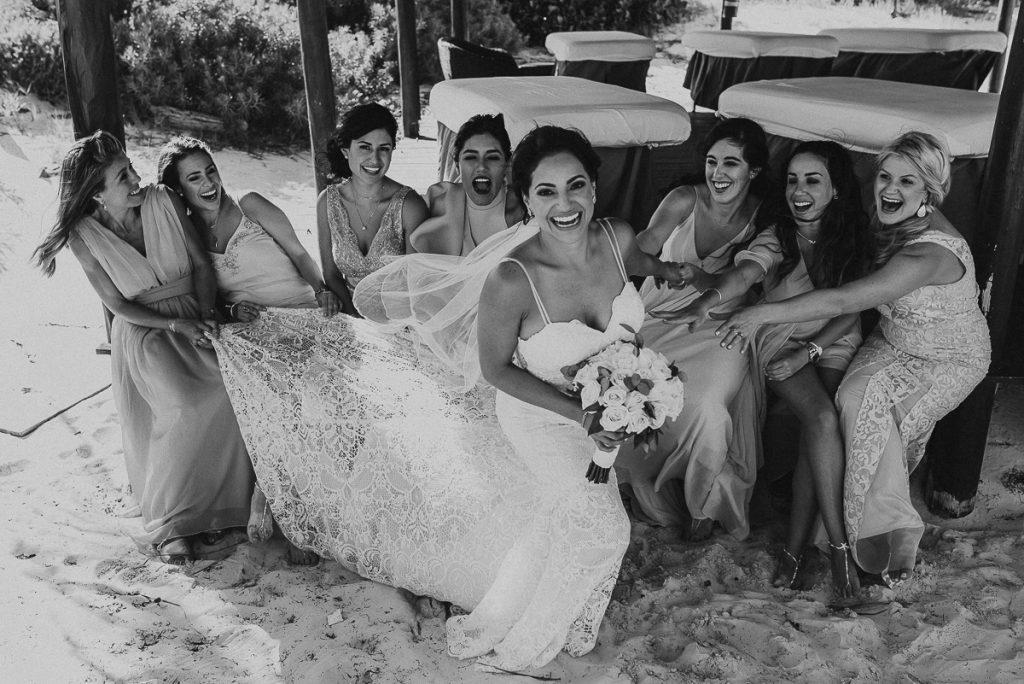 Fun bridal party shots at Royalton Riviera Cancun Wedding. Caro Navarro Photography